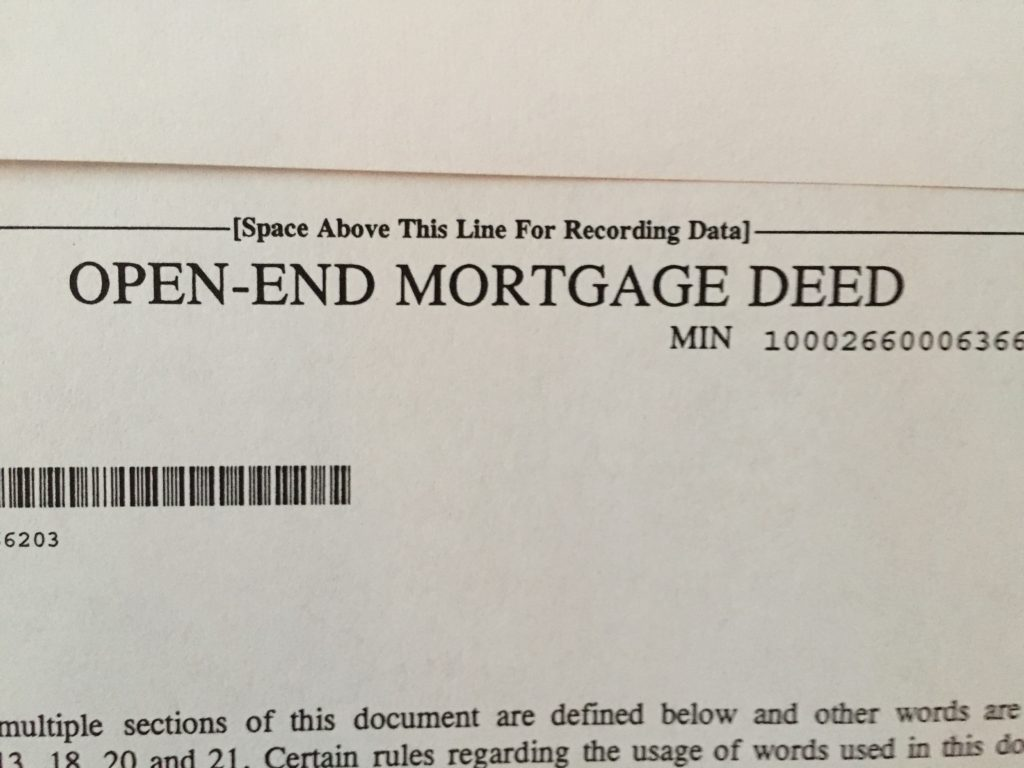 """words on paper """"Open End Mortgage"""""""