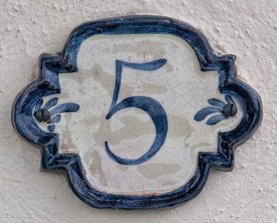 number 5 on house tile